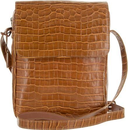 Väska med lock croco konjak blixtlås och magnetlås i skinn