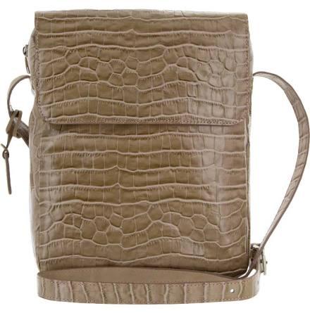 Väska med lock croco sand blixtlås och magnetlås i skinn