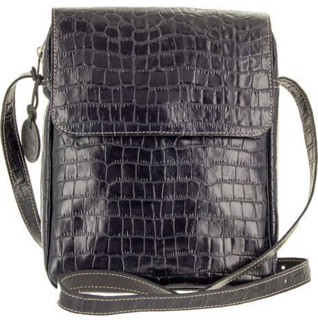 Väska med lock croco svart blixtlås och magnetlås i skinn