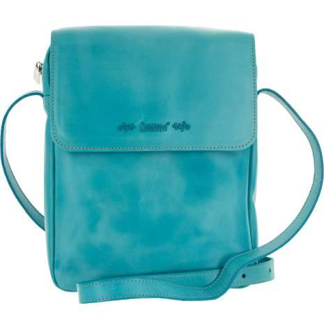 Väska med lock och axelrem turkos blixtlås och magnetlås i skinn