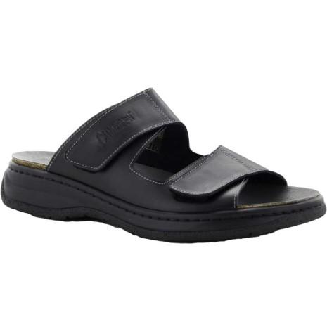 Simon svart sli in sandal med kardborrar