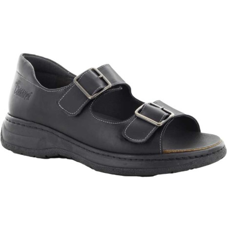 Sven svart sandal med kardborre och hälkappa