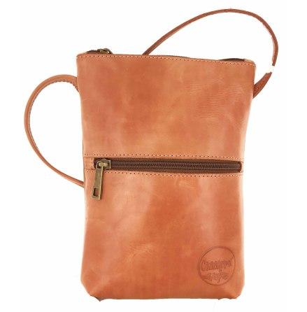 Citybag orange i skinn med blommigt foder