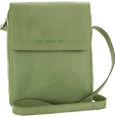 Väska med lock och axelrem grön, blixtlås och magnetlås i skinn