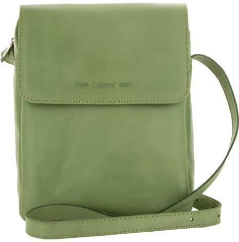 Väska med lock och axelrem grön blixtlås och magnetlås i skinn