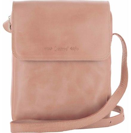 Väska med lock och axelrem gammelrosa blixtlås och magnetlås i skinn