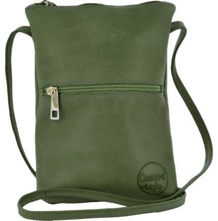 Citybag grön i skinn med blommigt foder