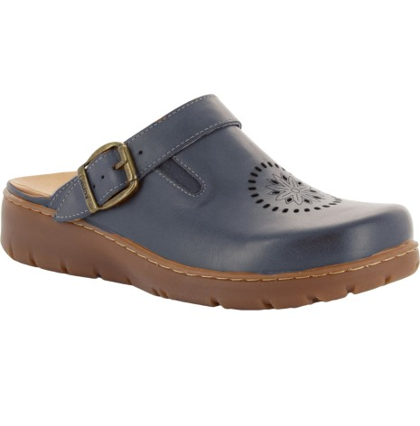 """Kiara blå """"trä""""sko med perforeringar o fällbar rem"""