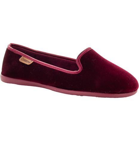 Emmy röd sammetstoffel loafermodell