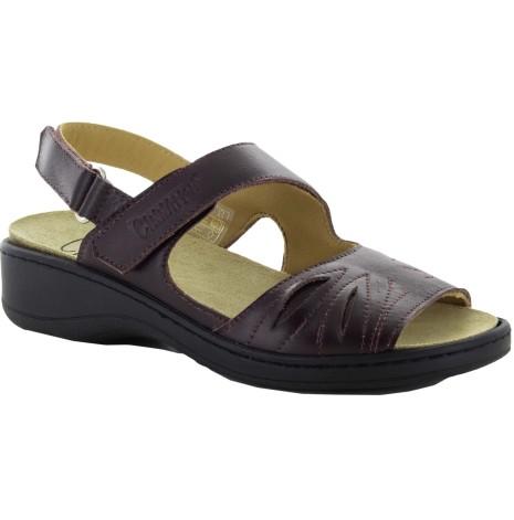 Janina burgundy (mycket mörkt röd) sandal skinn med Suaflex