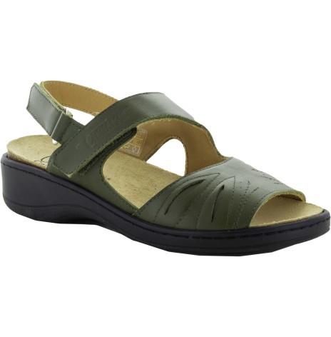 Janina olivgrön sandal skinn med Suaflex