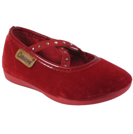 Rut röd sammetssko med resårband