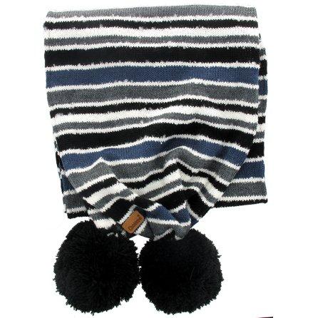 Stickad halsduk grå/blå/svart i multirand