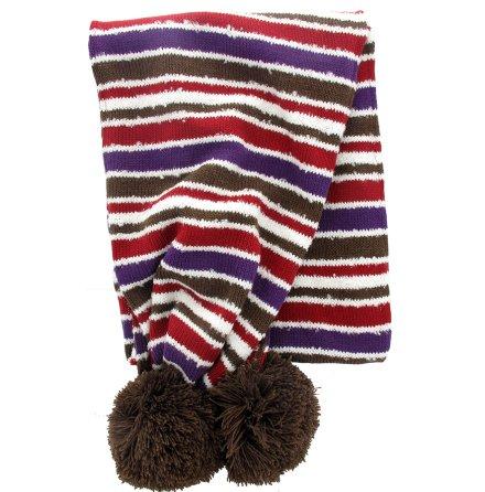 Stickad halsduk röd//brun/lila i multirand