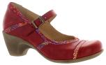 Lena röd pumps med paisleymönster
